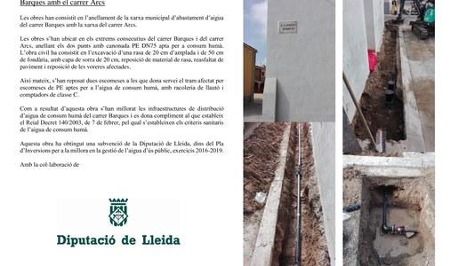 Anellar la xarxa municipal d'abastament d'aigua del carrer Barques amb el carrer Arcs