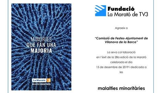 Diploma acreditatiu de la participació del nostre municipi a La Marató de TV3