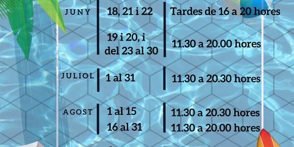 Horaris i dates obertura piscines municipals