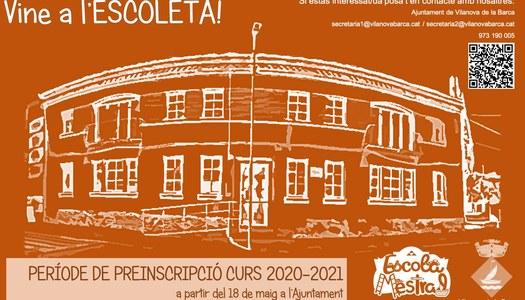 Inici període preinscripció llar infants municipal curs 2020-2021