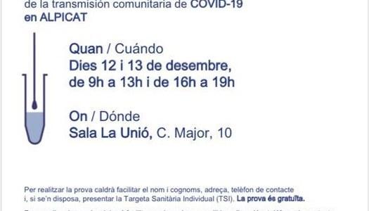 Proves diagnòstiques i gratuïtes per a la contenció de la transmissió comunitària Covid-19.